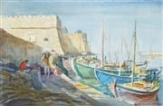Sale 8813 - Lot 506 - Julian Richard Ashton (1913 - 2001) - Port of Hania, Crete 24 x 34cm