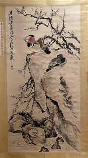Sale 8951S - Lot 5 - Chinese Scroll featuring Ducks with Plum Blossoms, Ink and Colour On Paper