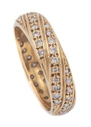 Sale 9012 - Lot 338 - A GOLD FULL HOOP DIAMOND BAND; 5mm wide band set in diagonal rows with 60 round brilliant cut diamonds, size M, tests for 17ct gold,...