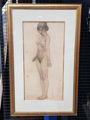 Sale 9036 - Lot 2005 - Karna Birmingham Standing Nude Study 1913 pencil (AF - foxing) 87 x 54cm (frame) signed and dated lower