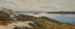 Sale 9125 - Lot 569 - George C T Orr (1882 - 1933) A Syndey Harbour Scene, 1912 watercolour and gouache 22.5 x 60.5 cm (frame: 62 x 100 x 4 cm) signed and...