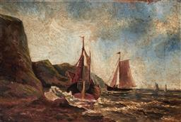 Sale 9125 - Lot 646 - Artist Unknown Ships on the Shoreline oil on canvas 14 x 21 cm (frame: 24 x 31 x 3 cm) unsigned
