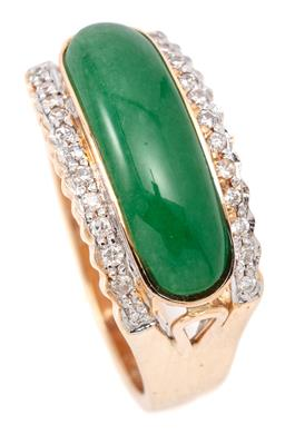 Sale 9132 - Lot 478 - A DIAMONDAND STONE SET RING; rub set with a 17 x 6mm cabochon dyed green quartz to borders each set with 12 round brilliant cut diam...