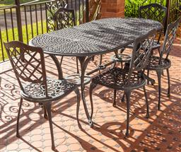 Sale 9190H - Lot 455 - A six piece cast metal painted outdoor setting with five chairs 76cm x 180cm x 90cm