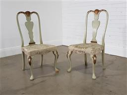 Sale 9255 - Lot 1309 - Pair of 18th century style painted chairs (h:105 x w:52 x d:44cm)