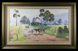 Sale 7923 - Lot 507 - A. Steuerwald- Landscape with Cattle, Oil on Board, Signed Lower Left
