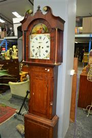 Sale 8093 - Lot 1798 - Georgian Longcase Clock with Painted Dial & Swan Neck Pediment