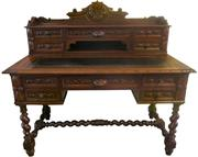 Sale 8258A - Lot 100 - French Henri II leather top desk with super-structure, barley sugar legs and stretcher, pull out writing surface, four drawers to th...
