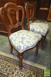 Sale 8267 - Lot 1041 - Set of Six Victorian Mahogany Admiralty Back Dining Chairs, with blue floral arabesques & turned legs