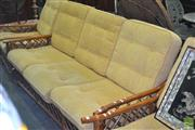 Sale 8312 - Lot 1054 - Cane Three Seater Sofa Bed