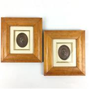 Sale 8545N - Lot 8 - Pair of Framed Bronze Oval Plaques - frame 21cm x 19cm each