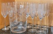 Sale 8562A - Lot 110 - A glass champagne bucket with lugs, together with a set of 6, and a set of 8, champagne flutes
