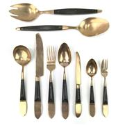 Sale 8699A - Lot 764 - Southeast Asian 86-Piece Brass & Black Horn Cutlery Service for 12