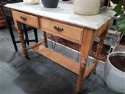 Sale 8744 - Lot 1021 - Marble Top Wash Stand on Pine Base with Two Drawers