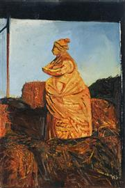 Sale 8847 - Lot 504 - Wendy Stavrianos (1941 - ) - Saskia in the Hay Stack, 1996 30.5 x 20cm