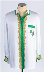 Sale 8926H - Lot 54 - A BASLER blouse in greens and golds with flag designs to front and back and gold buttons to front and pockets, size 42
