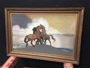 Sale 9053 - Lot 2060A - Kathleen Pearson, Stallions Fighting, 1951 pastel, frame: 52 x 77 cm, signed and date lower right