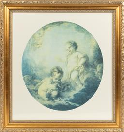 Sale 9099 - Lot 223 - A framed offset print of two cherubs; oval. 82 x 76cm