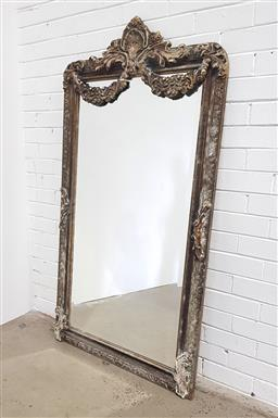 Sale 9126 - Lot 1229 - French style mantle mirror with wreath - damage to wreath (h:160 x w:85cm)