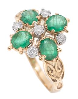 Sale 9186 - Lot 372 - A VICTORIAN STYLE EMERALD AND DIAMOND RING; set in 9ct gold with 4 oval cut emeralds between a cross of 5 round brilliant cut diamon...