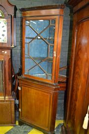 Sale 8093 - Lot 1799 - Georgian Mahogany & String Inlay Corner Cabinet with Astragal Door above Cupboard Base
