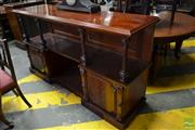 Sale 8485 - Lot 1093 - Unusual Victorian Carved Mahogany Breakfront Dumbwaiter, with fluted columns & two panels doors flanking an alcove (2 x Keys In Office)