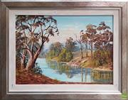 Sale 8609 - Lot 2017 - Vera Spicer By the Riverbank oil on board, 64 x 75cm (frame) signed lower left