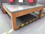 Sale 8669 - Lot 1023 - Oversized Timber and Metal Coffee Table