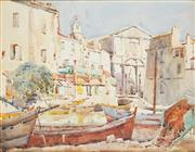 Sale 8813 - Lot 507 - Will Ashton (1881 - 1963) - European Port Scene 27.5 x 38cm