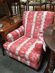 Sale 8863 - Lot 1073 - Red Fabric Upholstered Armchair