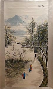 Sale 8951S - Lot 7 - Chinese Village Scene Scroll, Ink and Colour on Paper