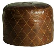 Sale 9075T - Lot 46 - A round Ottoman in vintage aged leather with diamond embroidery detailing. H: 44 x W: 55 x D: 55