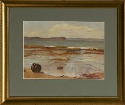 Sale 9094 - Lot 2092 - T. Watts Rock Pools, 1940 oil on board, frame: 28 x 34cm, signed and dated -