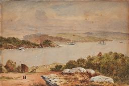 Sale 9099A - Lot 5091 - Australian School C19th - Harbour Scene, 1887 16.5 x 26 cm