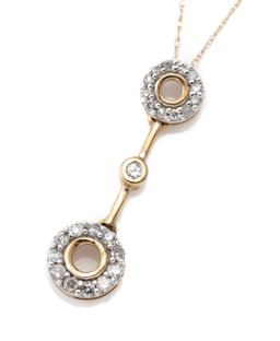 Sale 9124 - Lot 414 - A 10CT GOLD DIAMOND PENDANT NECKLACE; featuring 2 halo clusters, one set with 12 single cut other with 11 round brilliant cut diamon...