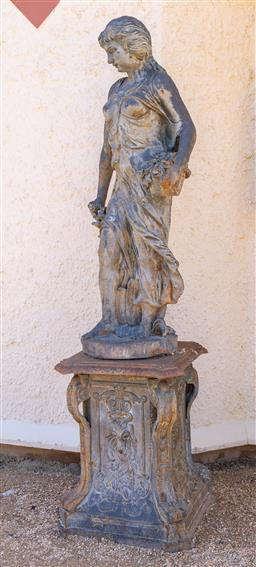 Sale 9248H - Lot 255 - Large Cast iron statue of lady on plinth total height 240cm