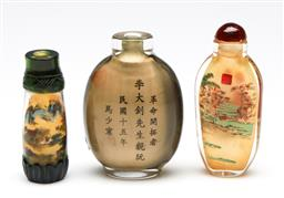 Sale 9253 - Lot 406 - Inside decorated Chinese snuff bottles (H:8cm) together with another missing stopper (3)