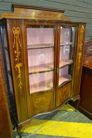 Sale 8093 - Lot 1801 - Sheraton Style Mahogany and Inlaid Display Cabinet with Two Shaped Glass Doors