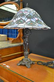 Sale 8156 - Lot 1006 - Leadlight Shade Table Lamp with Figural Base
