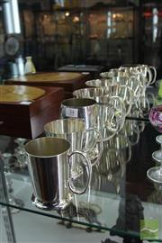 Sale 8226 - Lot 34 - Silver Plated Tankards (5)