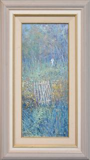 Sale 8286 - Lot 501 - Colleen Parker (1944 - 2008) - Cottage Gate 50 x 21.5cm