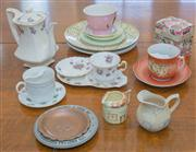 Sale 8402H - Lot 72 - A small selection of china wares, including moustache cups, a coffee for one and commemorative wares.
