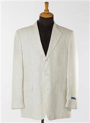 Sale 8550F - Lot 10 - Two Rossini, Beverley Hills 100% linen gentlemen's tailored single breasted jackets, one pin striped, both L.