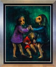 Sale 8562A - Lot 43 - David Boyd - Three Children Playing 102 x 82cm