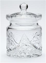 Sale 8599A - Lot 35 - A quality hand cut lead crystal biscuit barrel c. 1940s, the body cut with floral sprays, H 18 x D 18cm