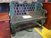 Sale 8617 - Lot 1078 - Early Victorian Scottish Cast Iron Garden Bench, by Carron Iron Works, with scale pattern back and scrolled sides, trapezoid pierced...