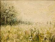 Sale 8642A - Lot 5185 - Artist Unknown (C20th) - Country Field with White Flowers 18.5 x 23.5cm