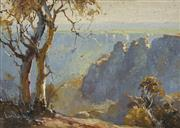 Sale 8708A - Lot 558 - DArcy W Doyle (1932 - 2001) - Three Sisters Katoomba 12 x 17cm