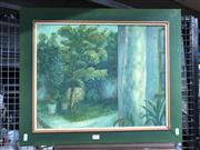 Sale 8779 - Lot 2092 - Artist Unknown - A Garden Scene, oil on canvas on board (AF), 51.5 x 62cm (frame), initialled lower right