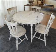 Sale 8858H - Lot 34 - Old Shabby Chic Table with 4 Chairs, H 74 x D 100 cm (Table), H 88 cm (Chairs) -